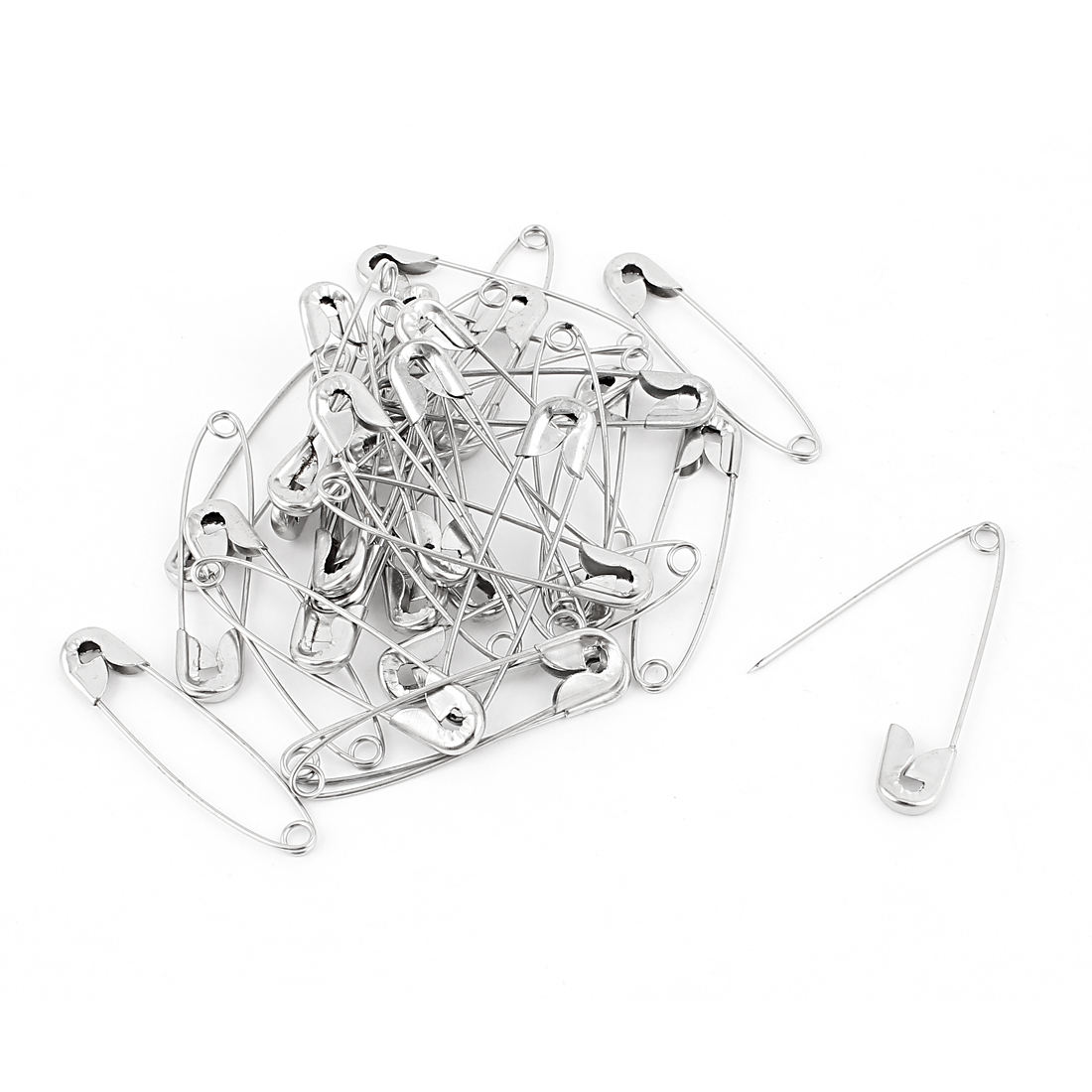 33 Pcs Metal Clothing Trimming Fastening Safety Pins 45mm x 10mm Silver Tone