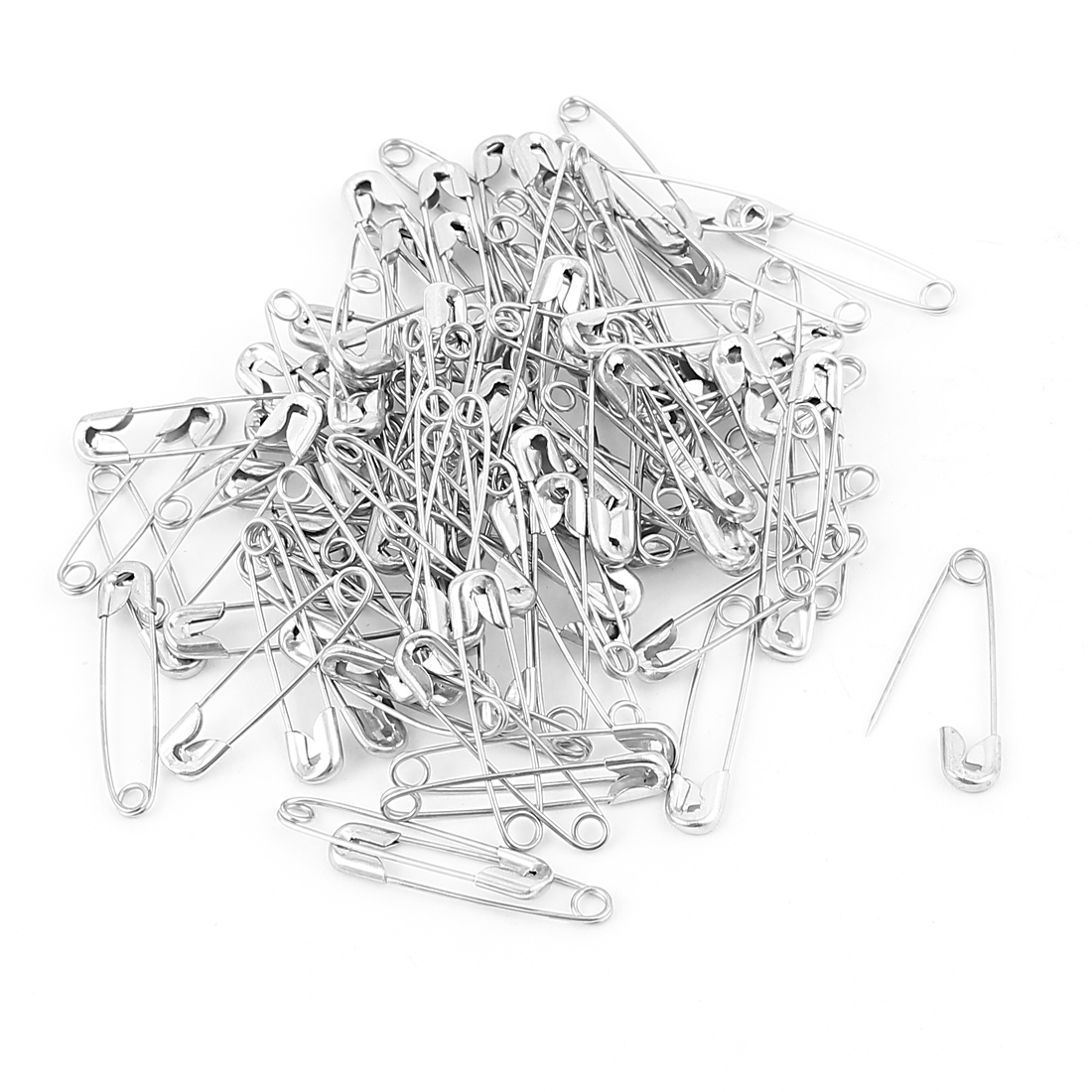 100 Pcs Metal Clothing Trimming Fastening Safety Pins 25mm x 5mm Silver Tone