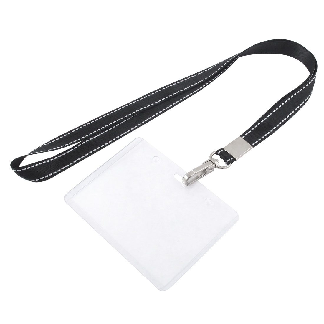 Neck Strap Plastic Horizontal ID Name Employee Card Tag Holder Black Clear