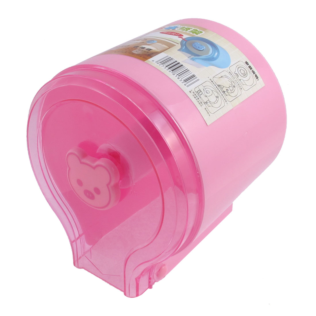 Home Toilet Bear Shaped Lock Clear Pink Plastic Wall Mounted Tissue Box Paper Cover Holder Case