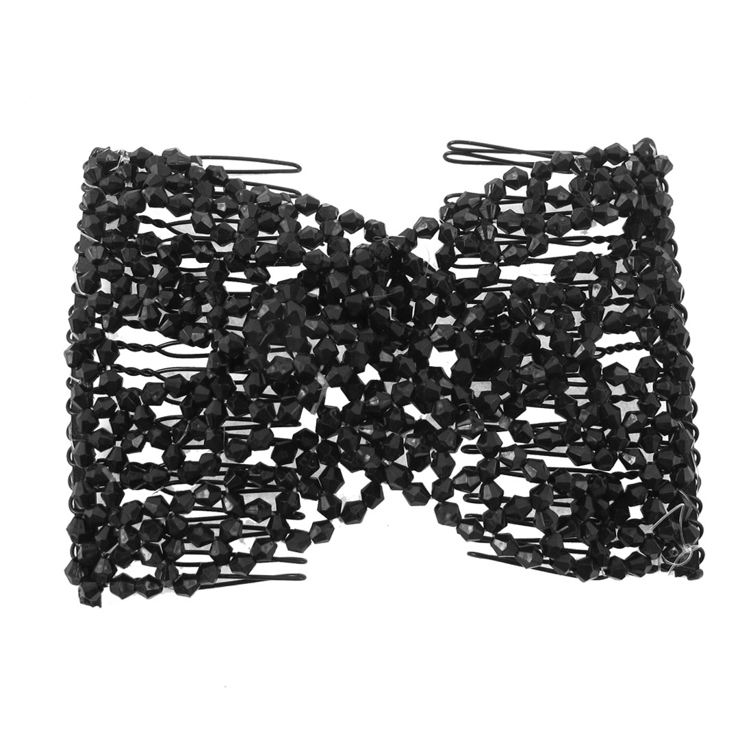 Lady Black Plastic Faux Bead Decor Elastic String Dual Row Hair Comb Clip Hairpin Ornament Hairdressing