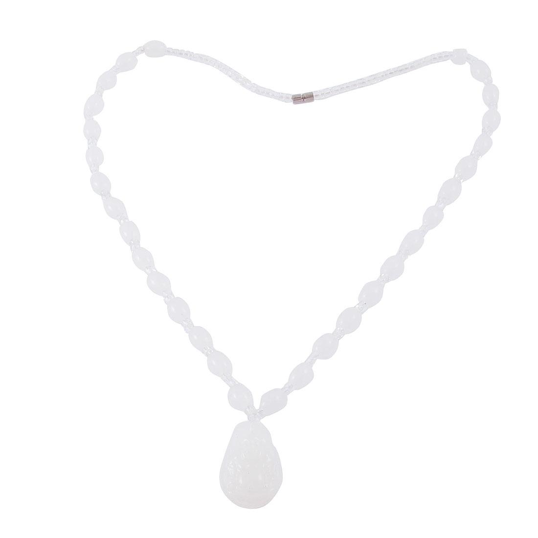 Screw Clasp White Faux Jade Stone Maitreya Buddha Pendant Necklace Neck Strap Chain Ornament