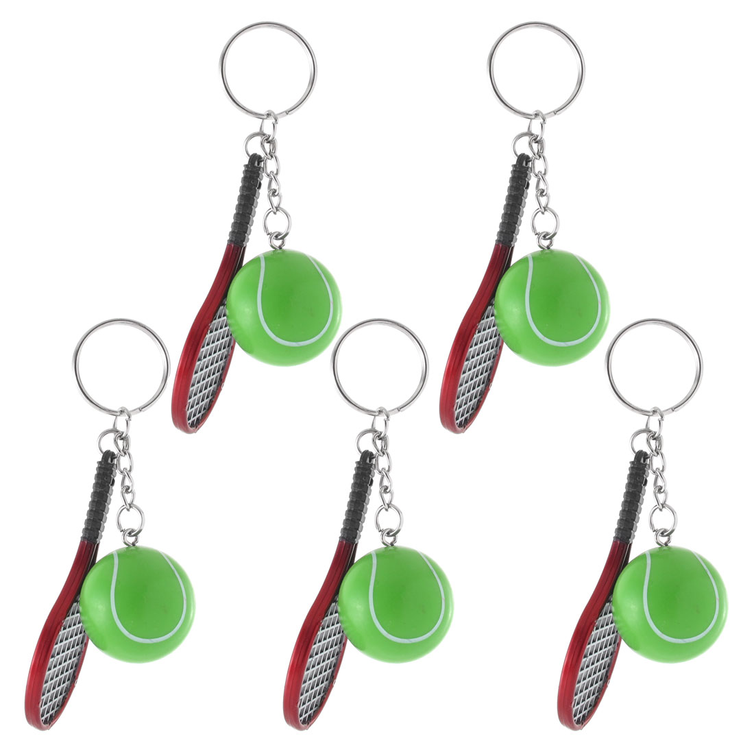 5PCS Green Red Plastic Tennis Ball Racket Pendant Keychain Key Ring Chain Purse Handbag Decoration