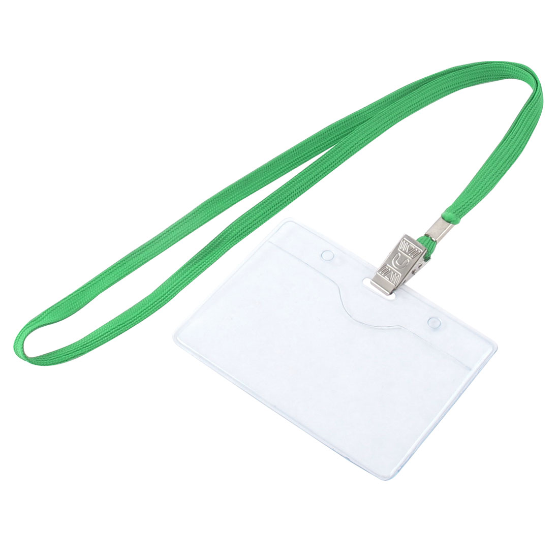 Lanyard Plastic Horizontal ID Office Employee Badge Card Holder Green Clear