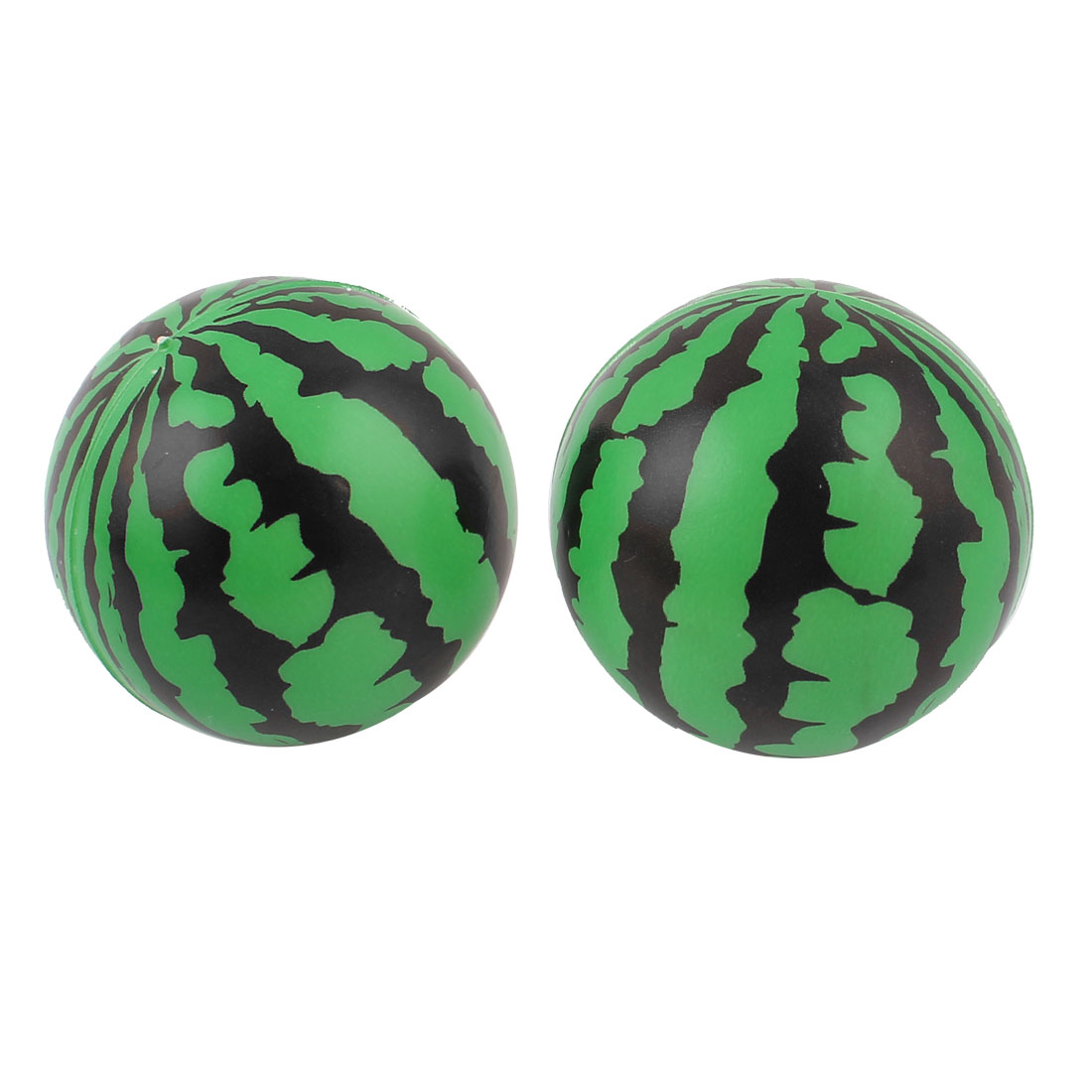 2 Pcs Rubber Watermelon Shape Pet Dog Cat Playing Training Ball Toy Green Black