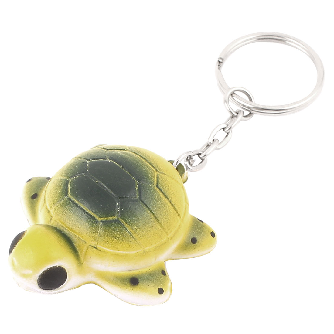 Rubber Turtle Shaped Pendant Split Ring Keychain Keyring Key Holder Yellow