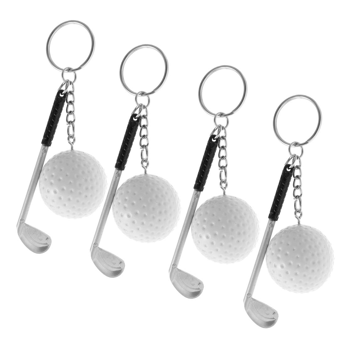 4PCS White Plastic Golf Ball Stick Pendant Keychain Keyring Key Chain Ring Purse Handbag Ornament