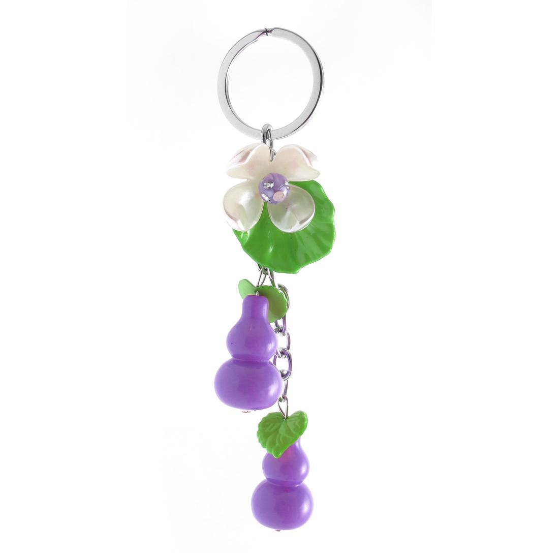 Purple Plastic Calabash Flower Pendant Keychain Keyring Key Chain Ring Handbag Purse Ornament Gift