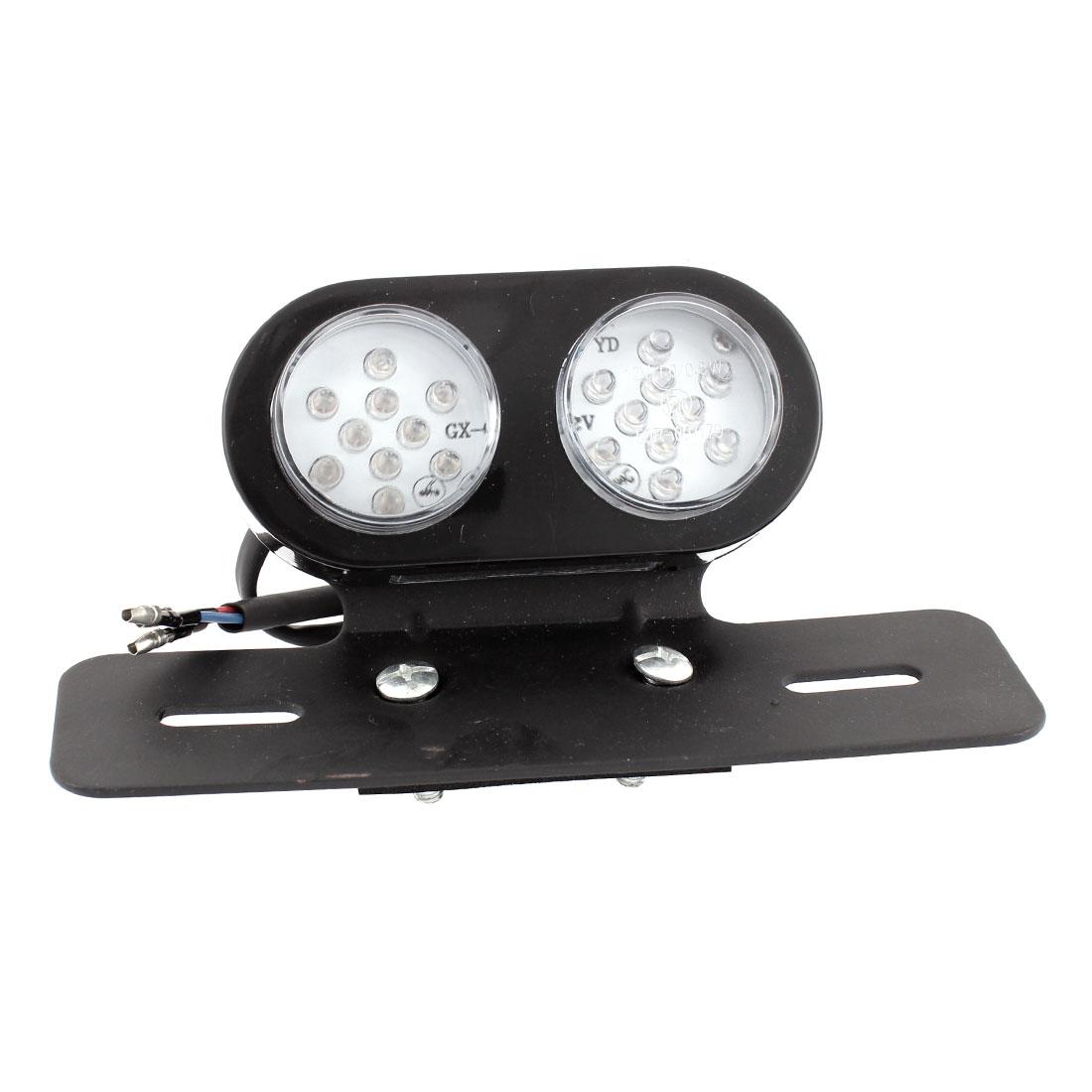 Motorbike 20 LED Red White Brake Tail Signal Light License Plate Bracket Holder