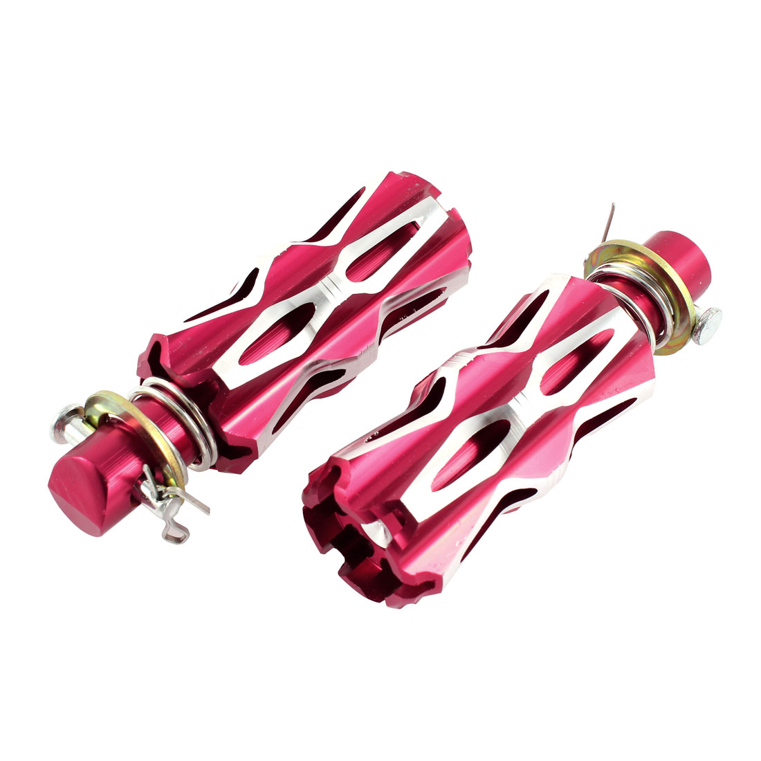 Pair Red Silver Tone Torx Shaped Aluminum Motorcycle Bicycle Foot Pegs