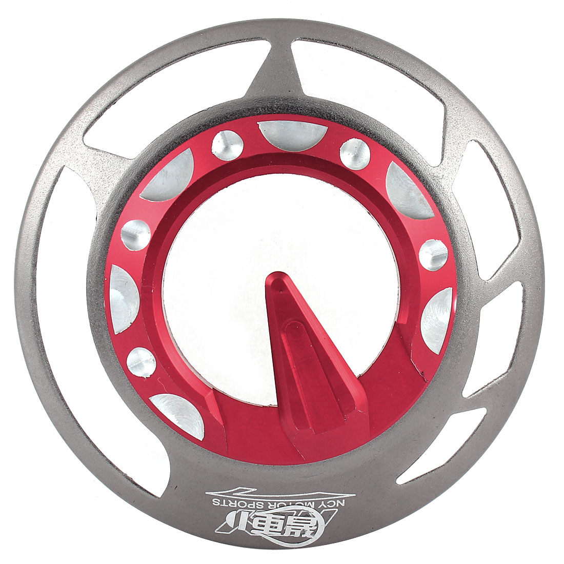 Autobike Motorcycle Red Silver Tone Circle Shaped Wheels Fan Cover