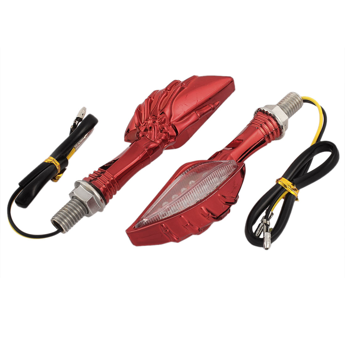 2 Pcs Motorcycle Red Hook Shaped Yellow LED Turn Signal Lights Indicator Front Rear
