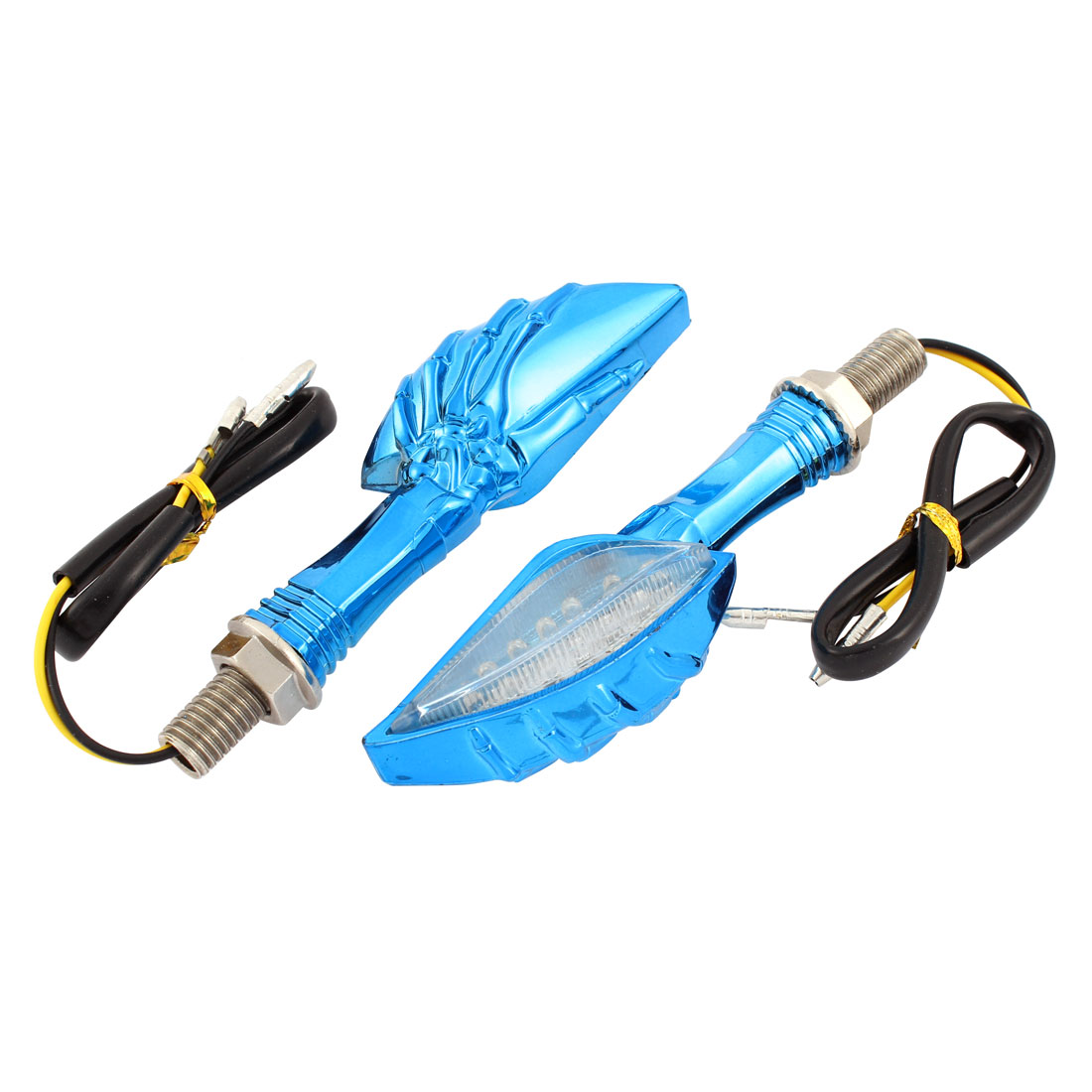 2 Pcs Blue Hook Shaped Yellow LED Turn Signal Lights for Motorcycle