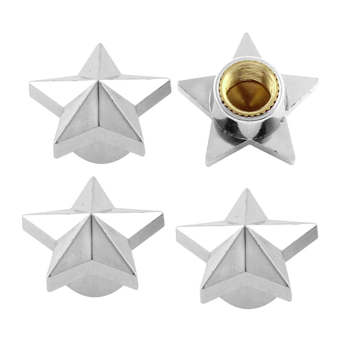 4 Pcs Silver Tone Stars Shape Tyre Valve Caps Protectors 8mm Hole Dia