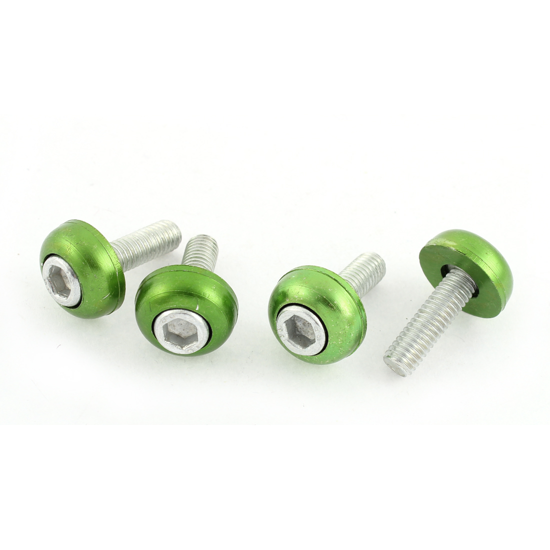 4 Pcs Green Round Shaped License Plate Decorative Screw Bolt for Car