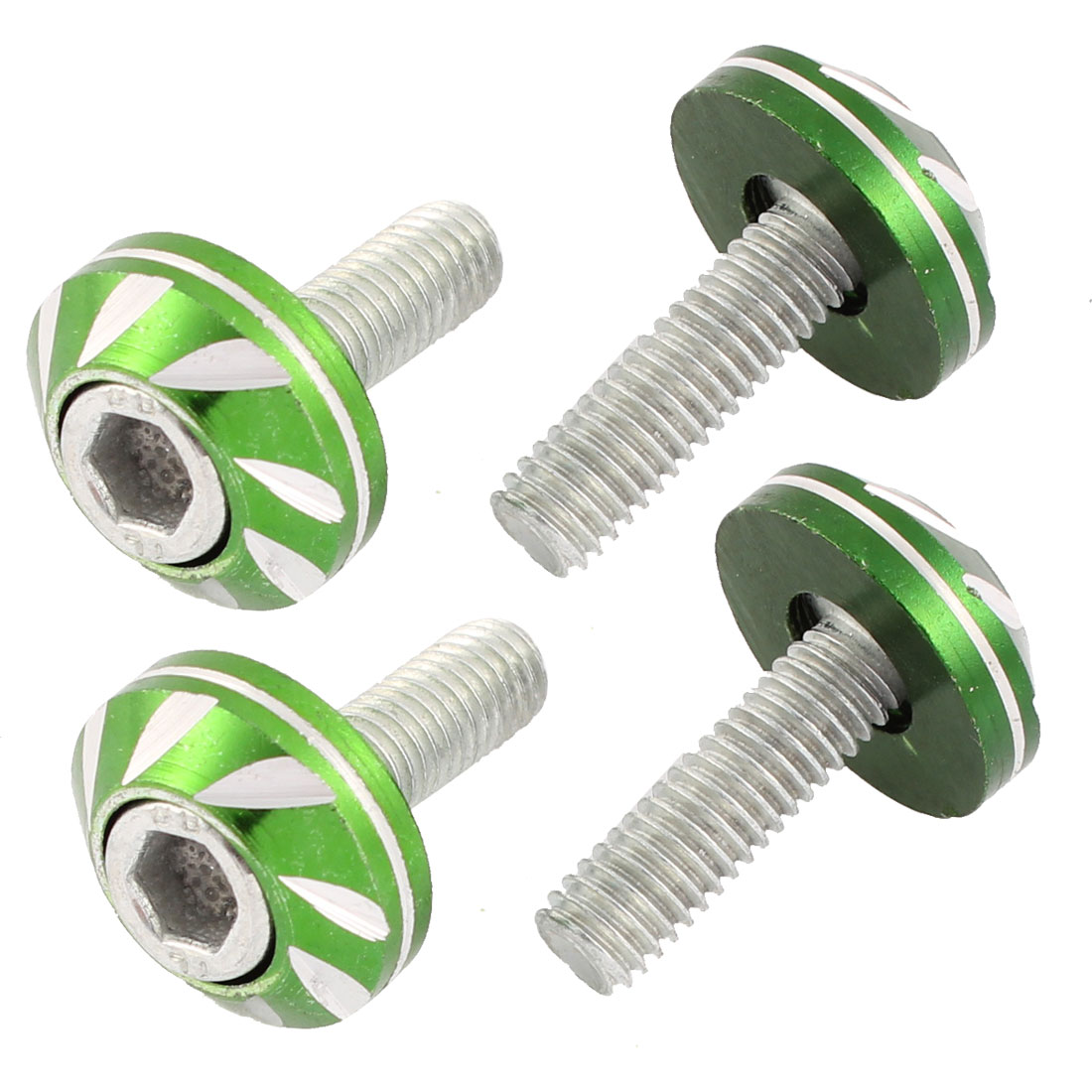 4 Pcs Car Green Round Shape Leaf Pattern 6mm Dia License Plate Screw Bolt