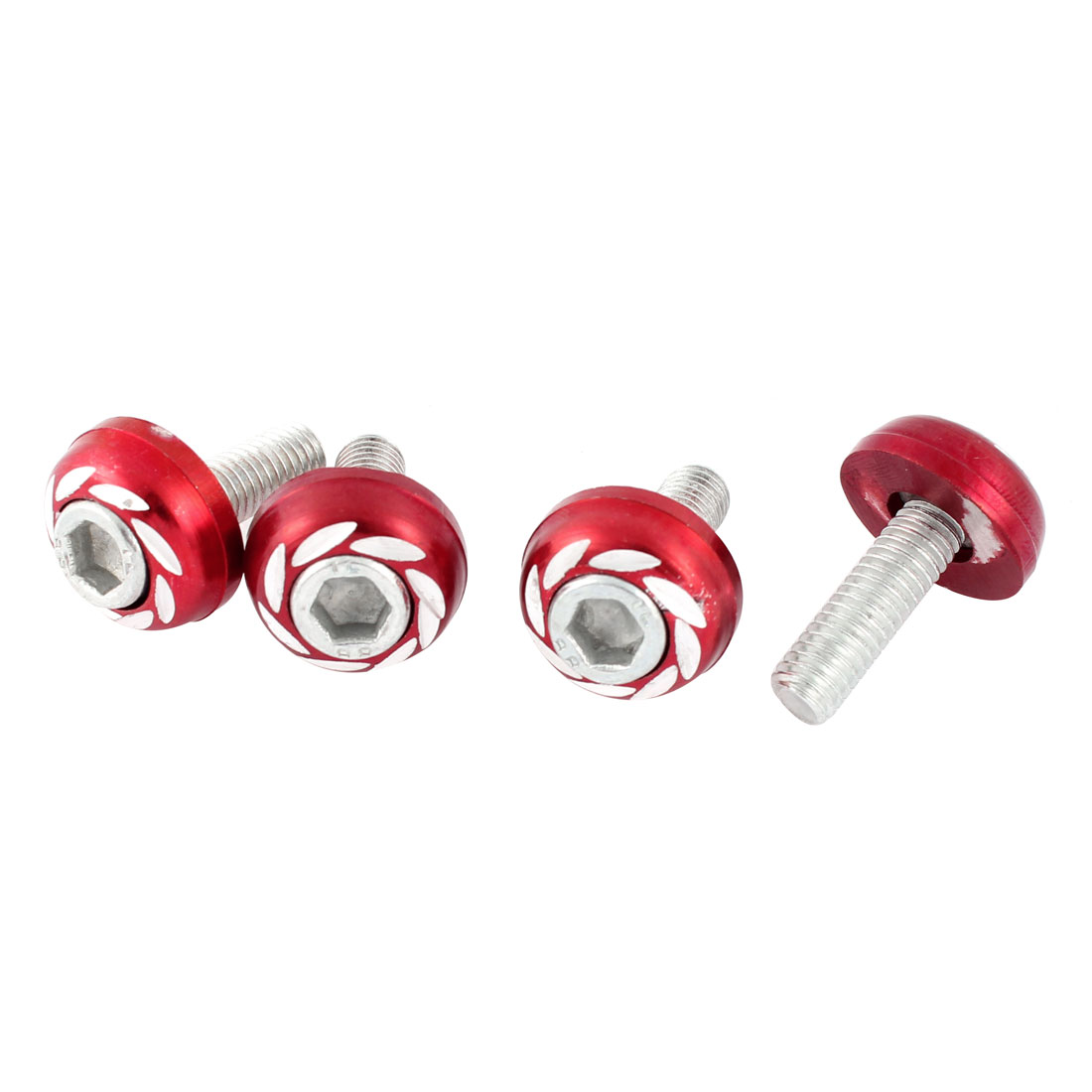 Motorcycle Car License Round Head Plate Screw Bolt Decoration Red 6mm 4 Pcs