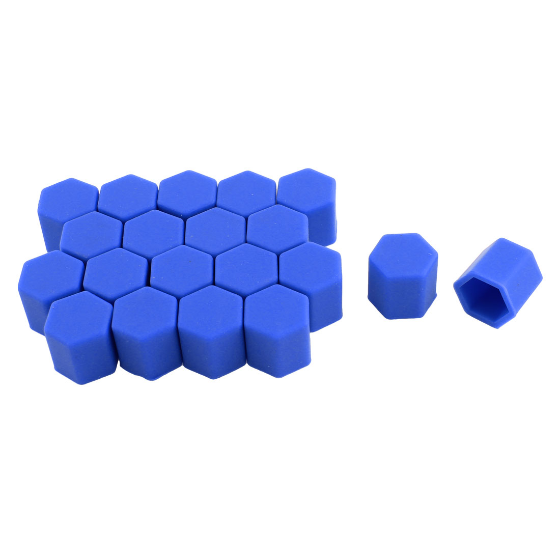 20 Pcs 17mm Blue Silicone Wheel Covers Hub Tyres Screw Dust Caps for Car