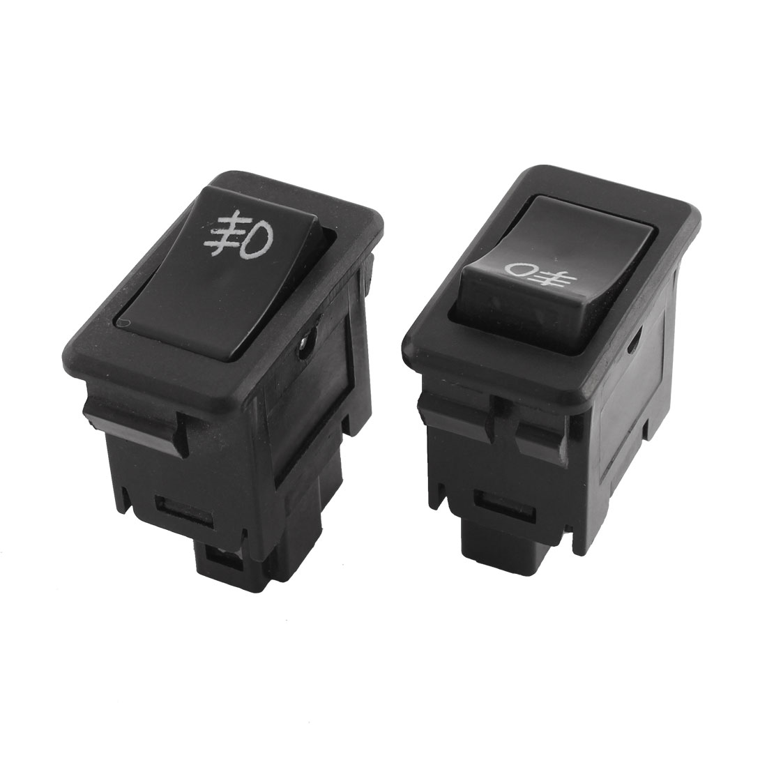 2 Pcs DC 12V SPST ON OFF 2 Pin Rocker Boat Switch Black for Car Fog Light Lamp
