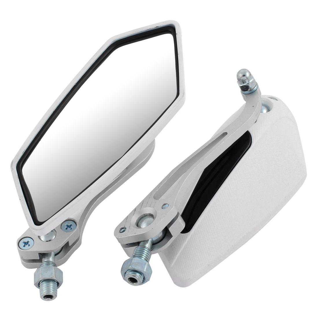 2 Pcs White Polygon Shaped Motorcycle Blind Spot Rear View Mirror