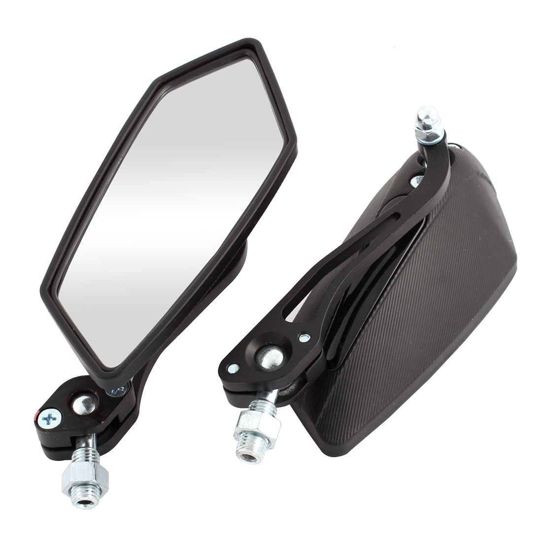 2 Pcs Black Polygon Design Rearview Mirrors for Motorcycle Motorbike