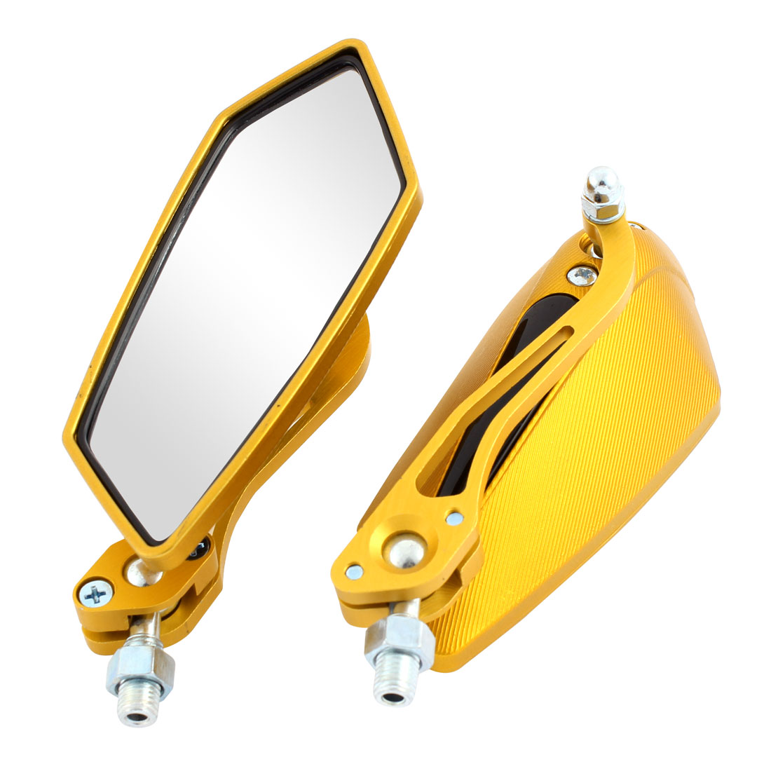 Pair Motorcycle Scooter Polygon Shaped Rearview Mirrors Gold Tone