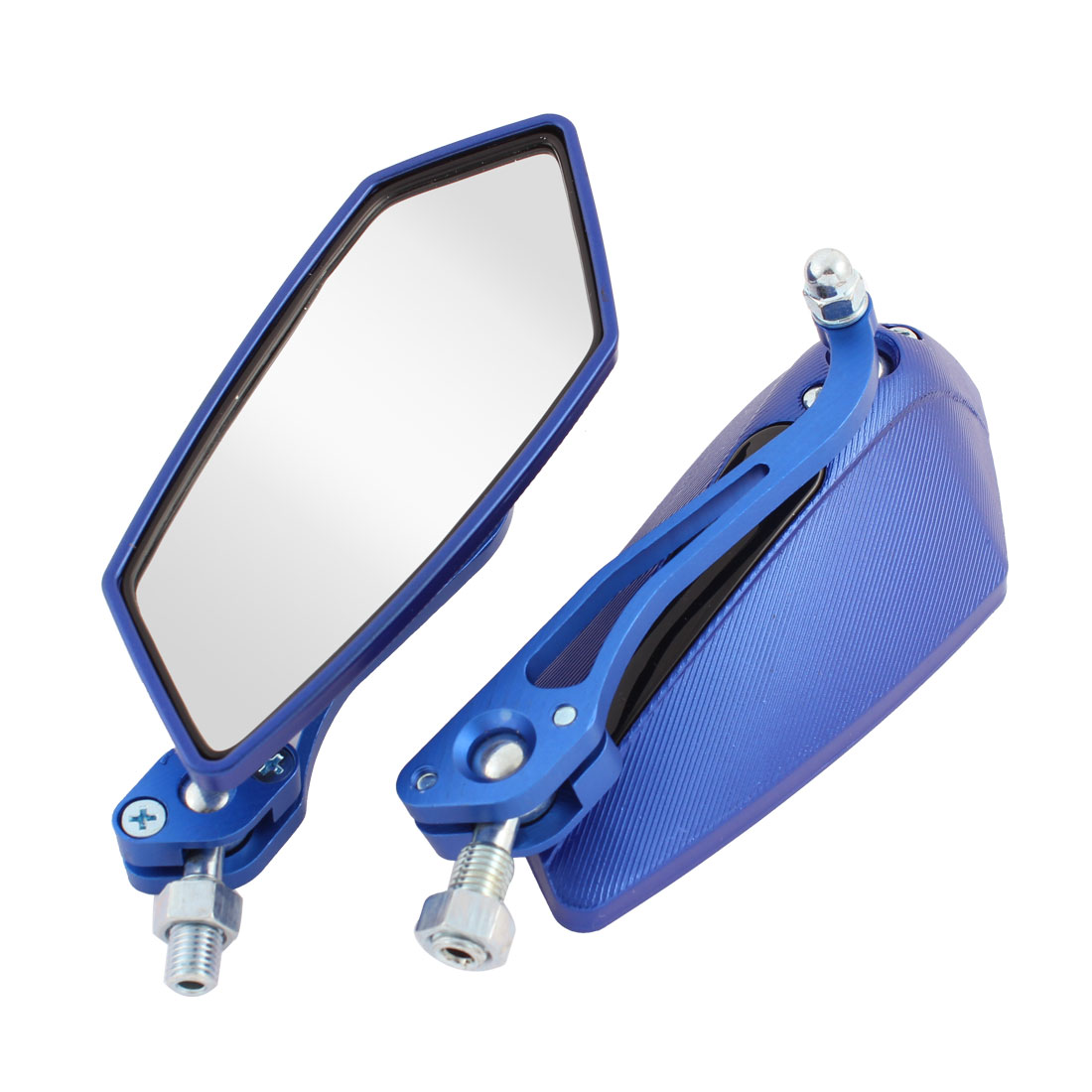2 Pcs Blue Shell Polygon Shaped Motorcycle Adjustable Blind Spot Rear View Mirror