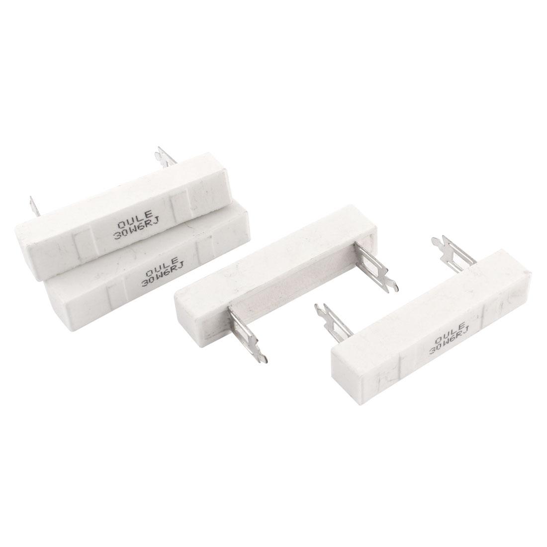 4 Pcs Ceramic Cement Power Resistor 6 ohm 30W 30W6RJ