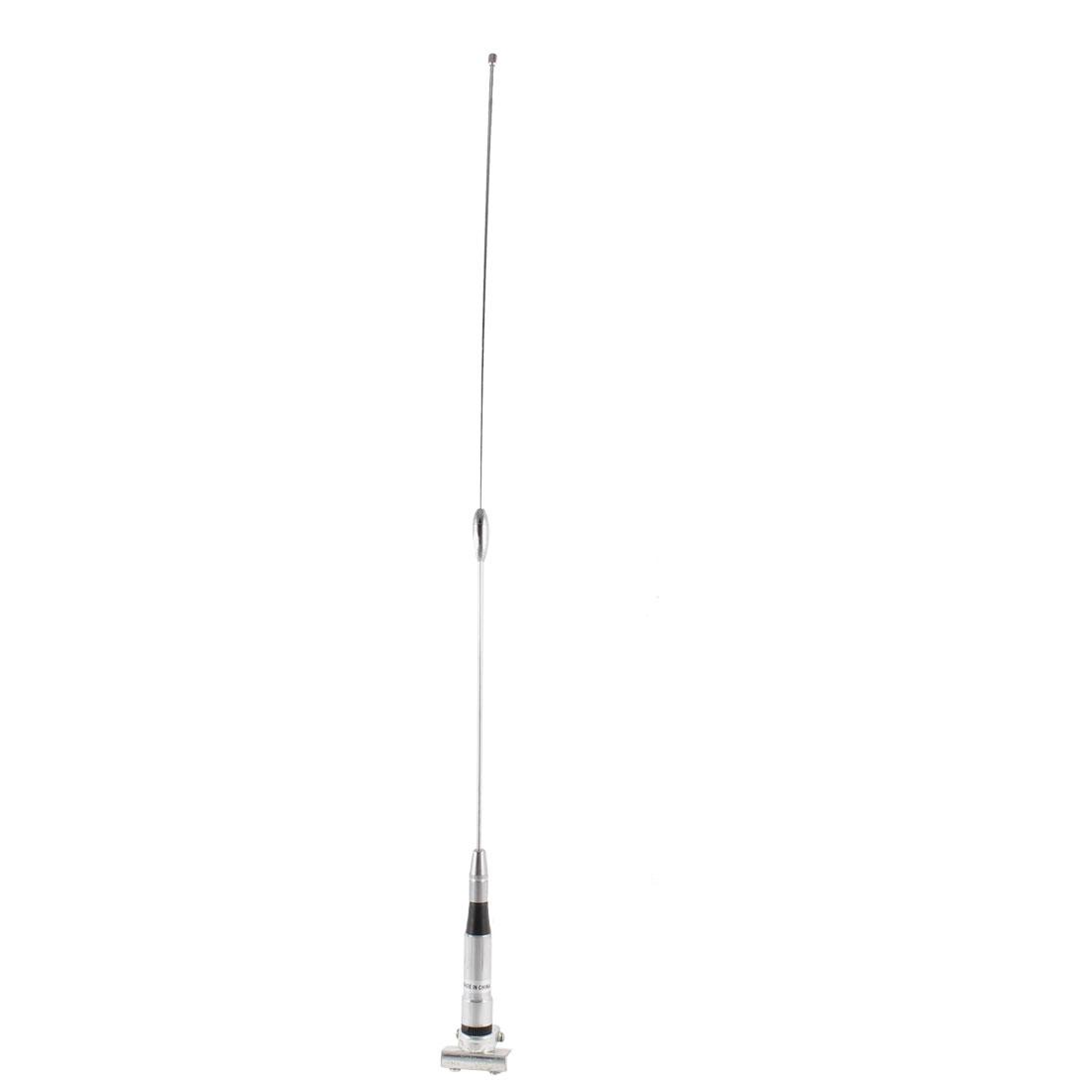 58cm Long Silver Tone Screw Mount Single Pole Car Auto Signal Radio FM AM Antenna