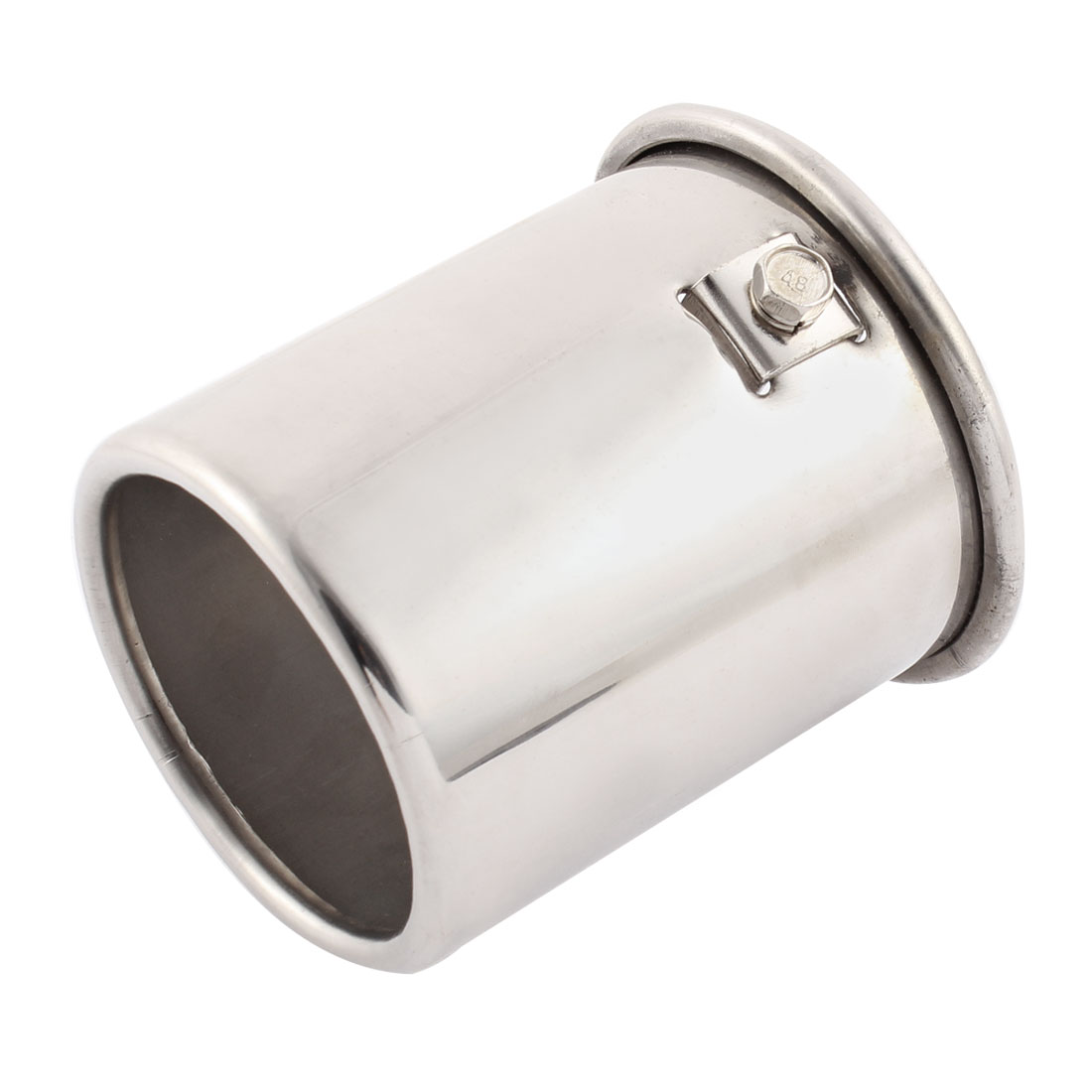 80mm x 72mm Inlet Silver Tone Stainless Steel Exhaust Muffler Tip for Car Truck