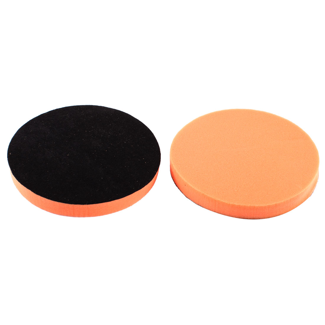 "2 Pcs 7"" Diameter Car Auto Round Polishing Sponge Cleaning Pads Orange"