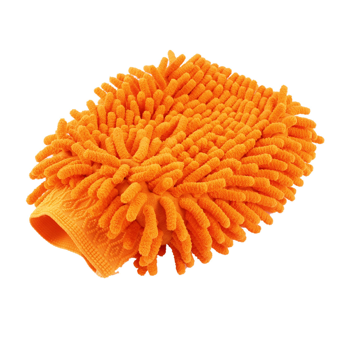 Dual Side Elastic Cuff Orange Soft Microfiber Car Wash Mitt Glove