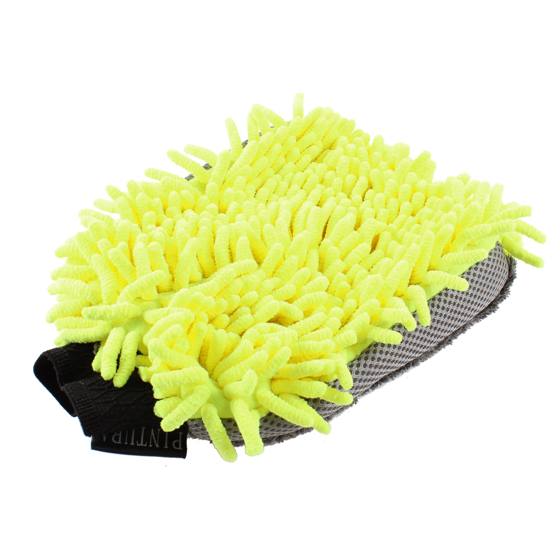 Home Car Cleaning Tool Yellow Gray Dual Sides Soft Microfiber Mitt Glove Cleaner