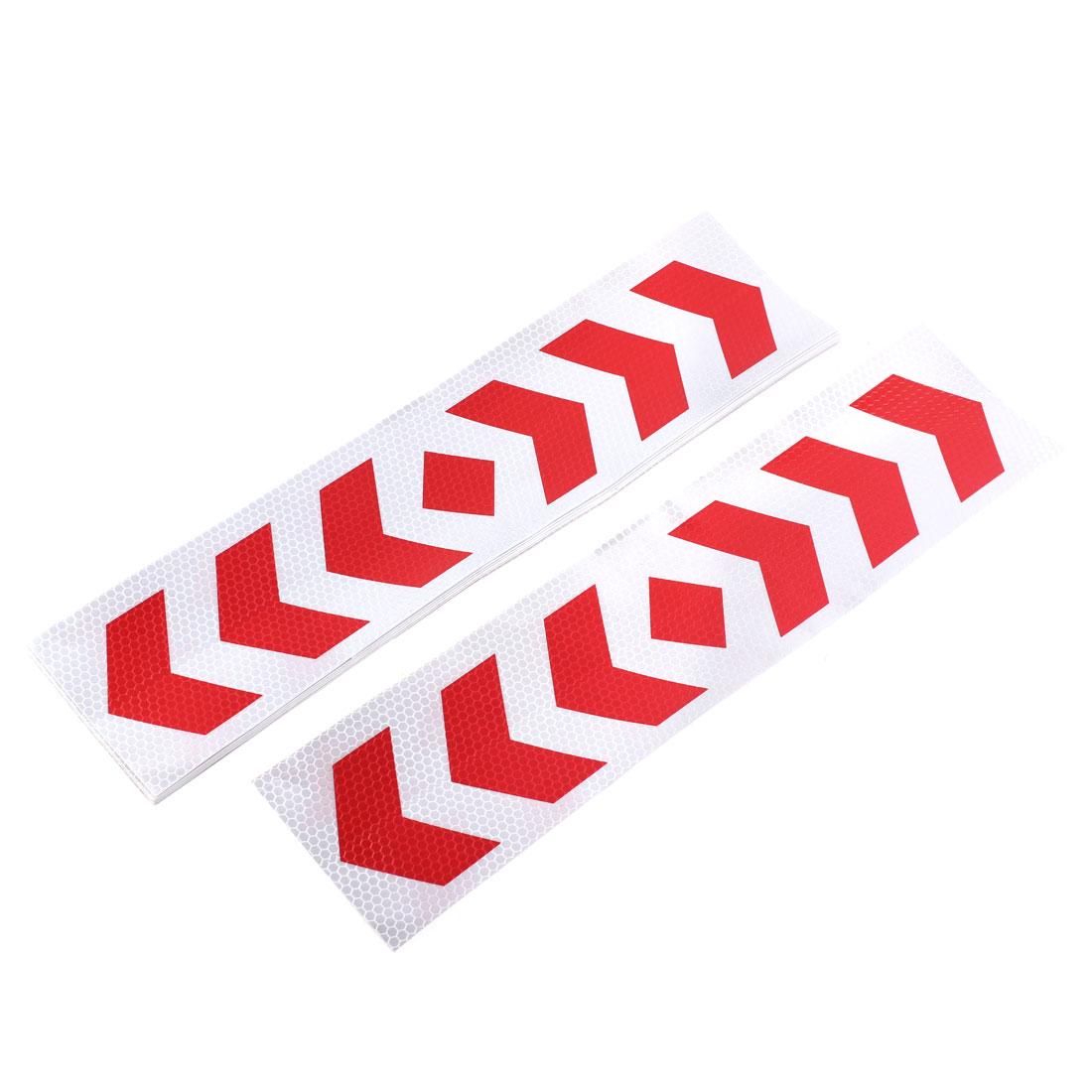 40cm x 10cm Red Sliver Tone Plastic Car Reflective Decal Stickers 10pcs