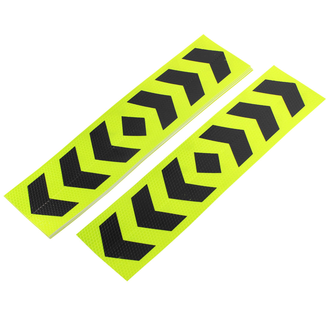 10 x Car Truck Trailer Reflective Safety Arrows Pattern Tape Sticker Shiny Yellow Black