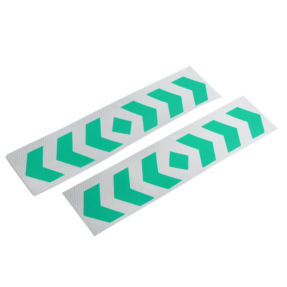10 Pcs Car Green Sliver Tone Arrows Print Reflected Stickers 40cm x 10cm