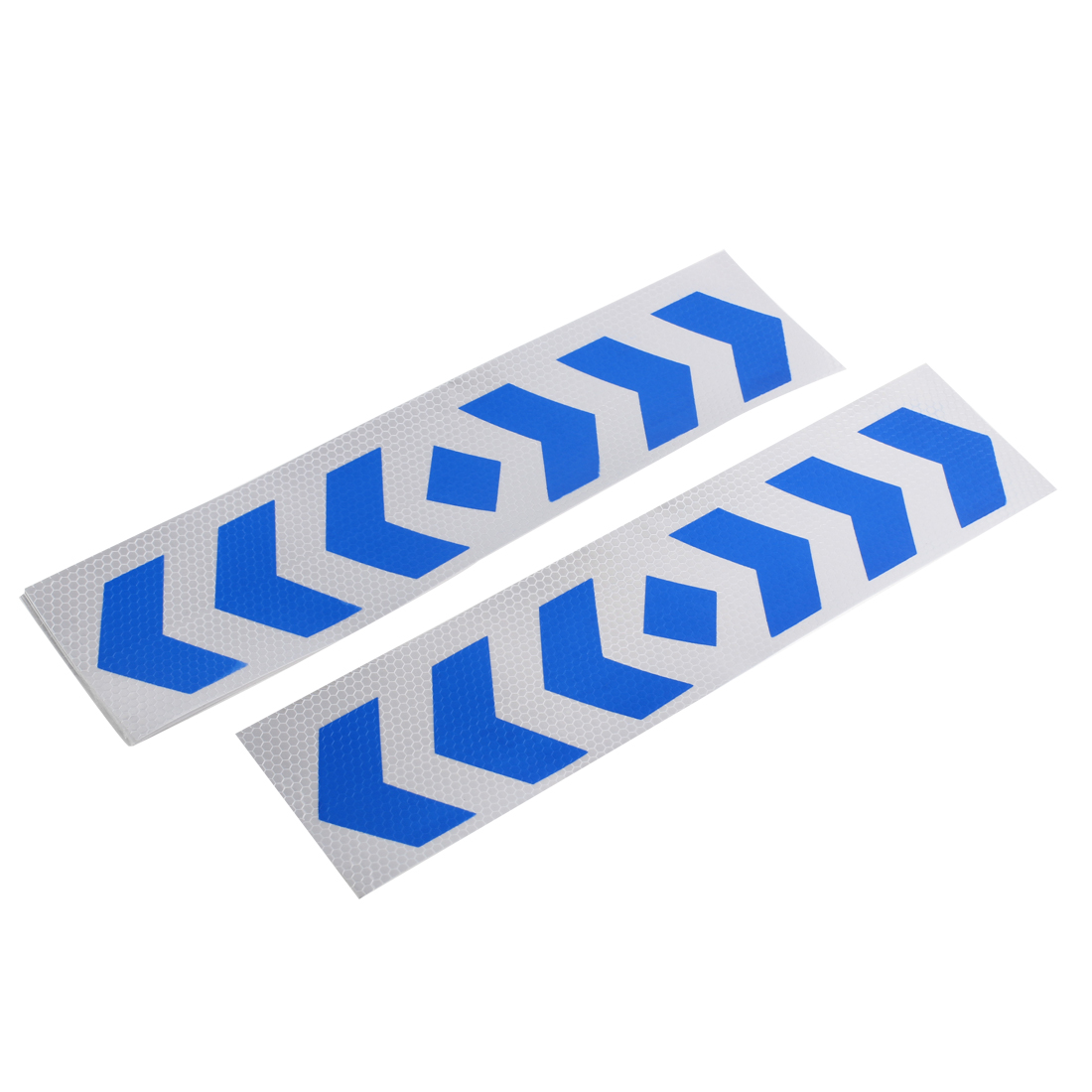 10 Pcs Blue Slive Tone Plastic Reflective Sticker Decal 40 x 10cm for Car