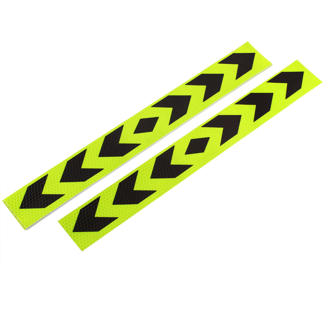 10 Pcs Shiny Yellow Black Plastic Arrow Print Reflective Sticker for Car