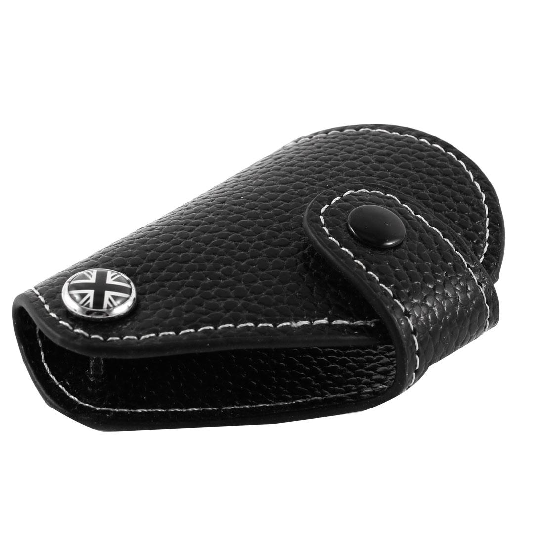 8cm x 6cm Black Union Jack Flag Print Car Key Remote Control Carry Bag for BMW Mini Cooper Countryman