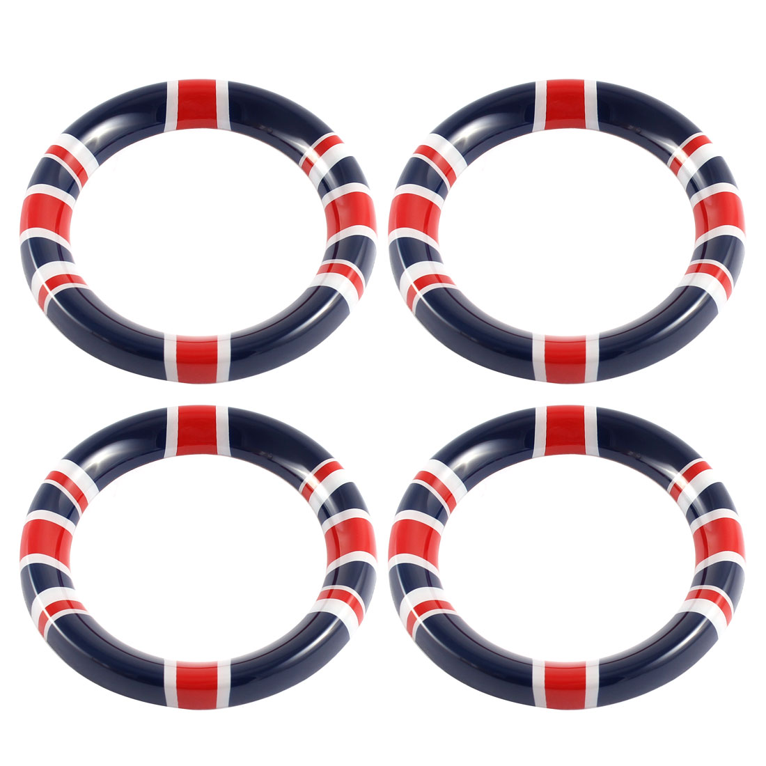 4 Pcs Red Blue Plastic Union Jack Flag Pattern Car Inner Door Handle Cover Ring for BMW Mini R60