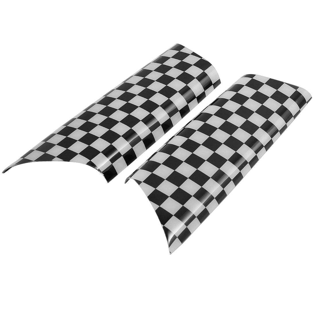 2 Pcs Black White Check Print Car Door Handle Cover for BMW Mini R55 R56 R57 R58 R59