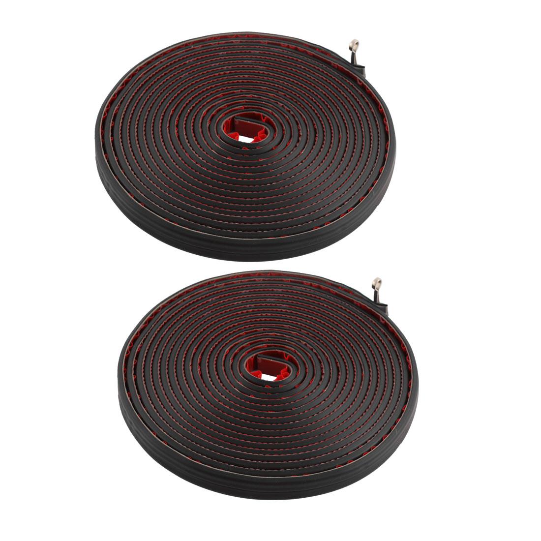 2 Pcs 5M Length Black Rubber Double D Shape Car Door Seal Strip Weatherstrip