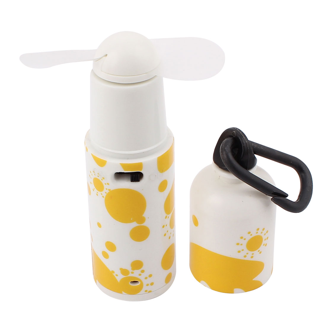 Portable 2 Flabellums Water Bottle Design Yellow White Plastic Mini Cooling Fan w Buckle