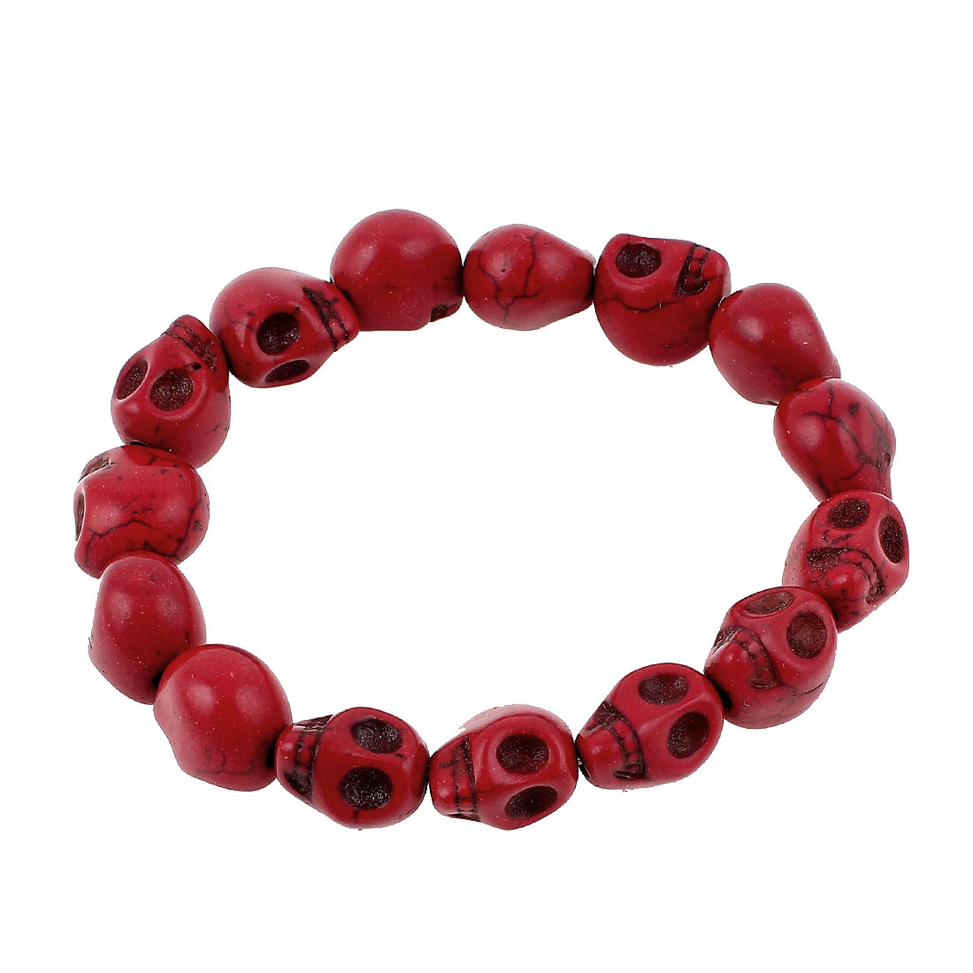 Red Stone Skull Head Shaped Beaded Elastic Linked Wrist Chain Bangle Bracelet for Lady