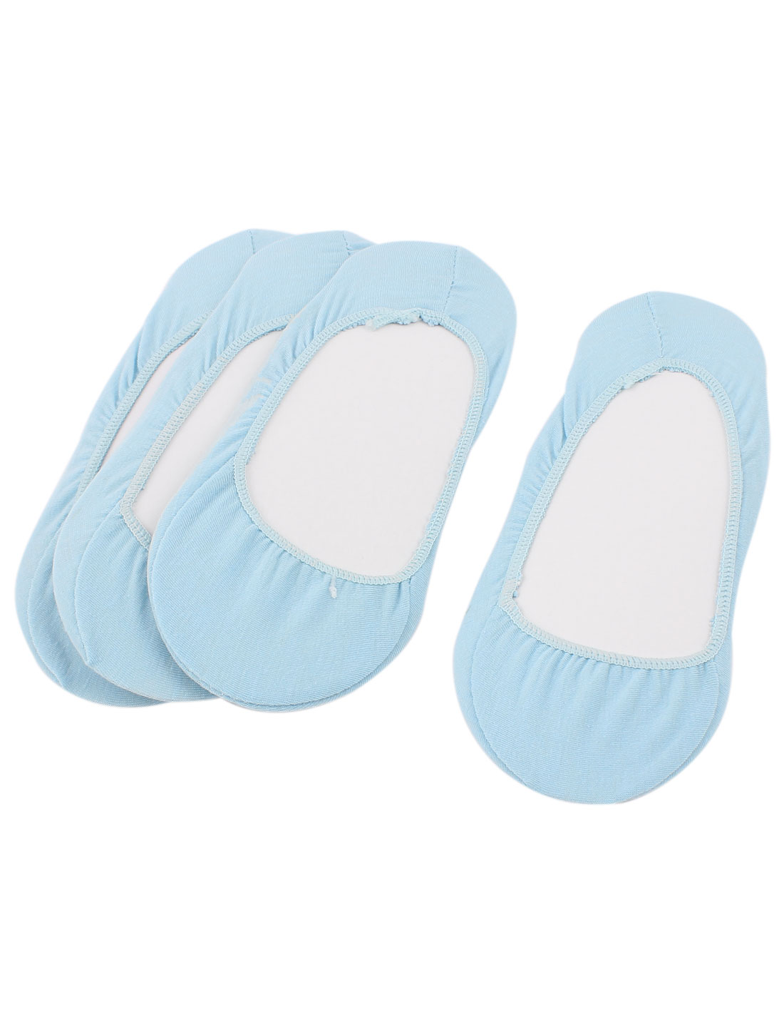 4Pairs Summer Sky Blue Cotton Blends Elastic Cuff Short Low Cut Slipper Heels Footsie Invisible Boat Socks for Women