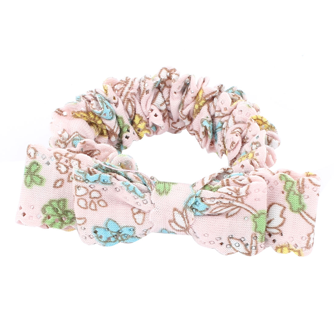 Ladies Hairstyle Floral Print Bowknot Detail Hollow Out Edge Elastic Hairband Hair Tie Ponytail Holder Light Pink
