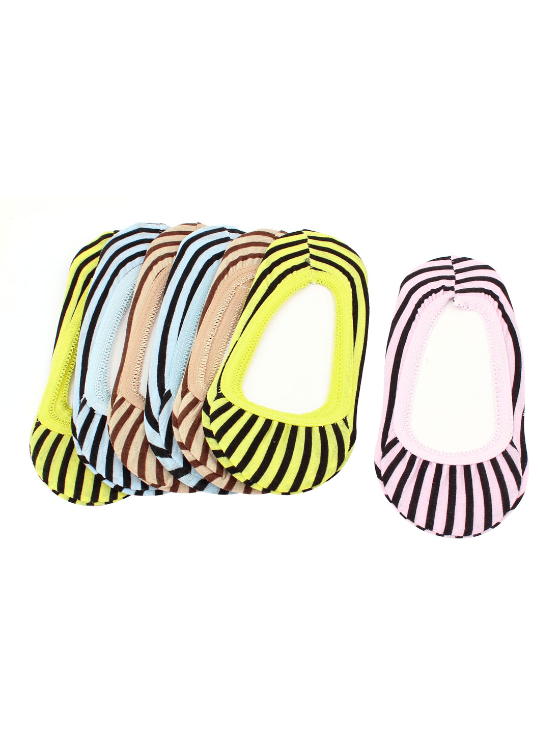 7 Pairs Summer Multicolor Stripes Print Cotton Blends Elastic Cuff Short Low Cut Slipper Heels Footsie Invisible Boat Socks for Lady
