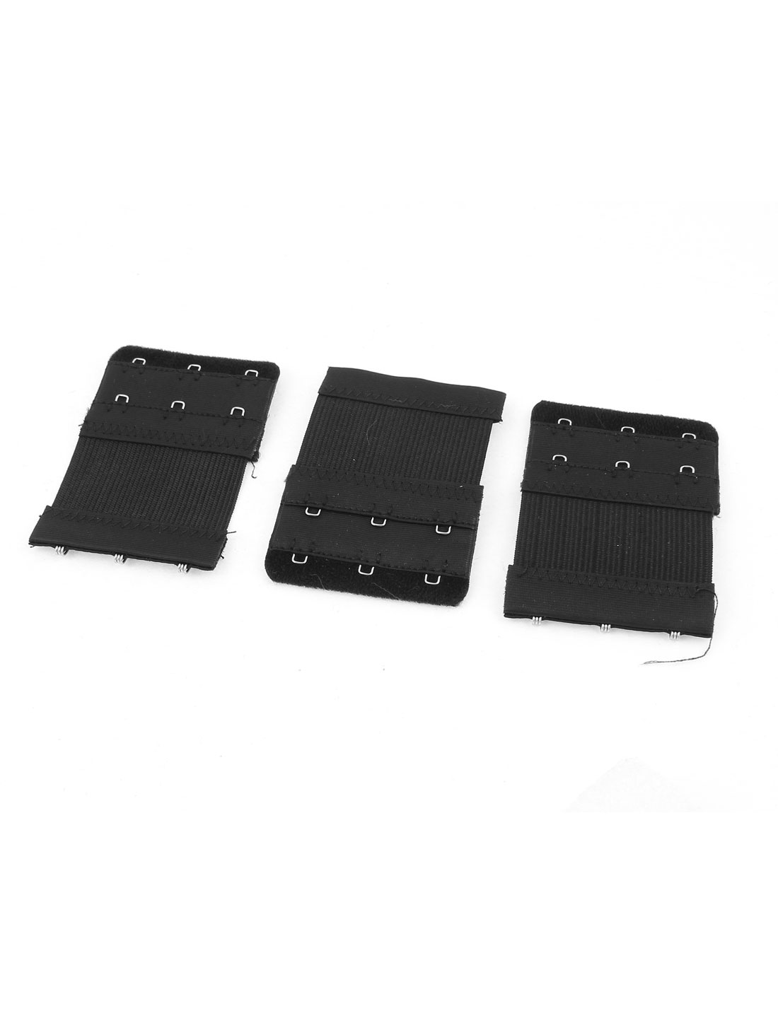3pcs Eye Closure Dual Row 3 Hooks Spandex Stretch Soft Underwear Bra Strap Back Band Extension Extenders Black for Woman