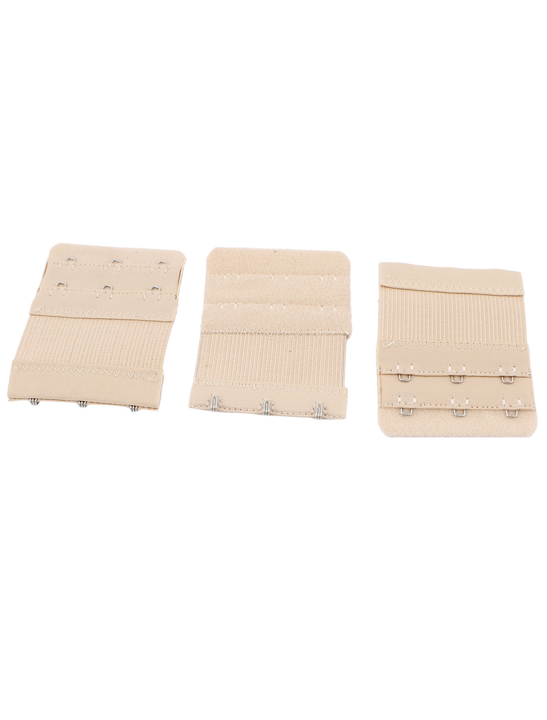 3pcs Eye Closure Dual Row 3 Hooks Spandex Stretch Soft Lingerie Bra Strap Back Band Extension Extenders Beige for Lady