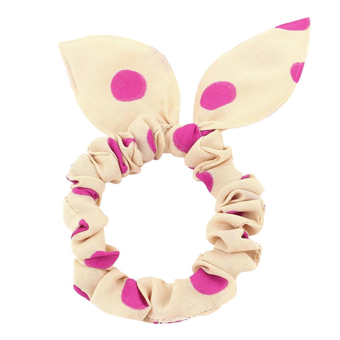 Girls Fuchsia Dots Print Rabbit Head Shaped Elastic Hair Tie Hairband Ponytail Holder Headdress Khaki